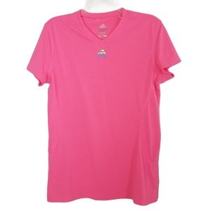 Adidas Tee T-shirt Pink Logo V-neck Fitted